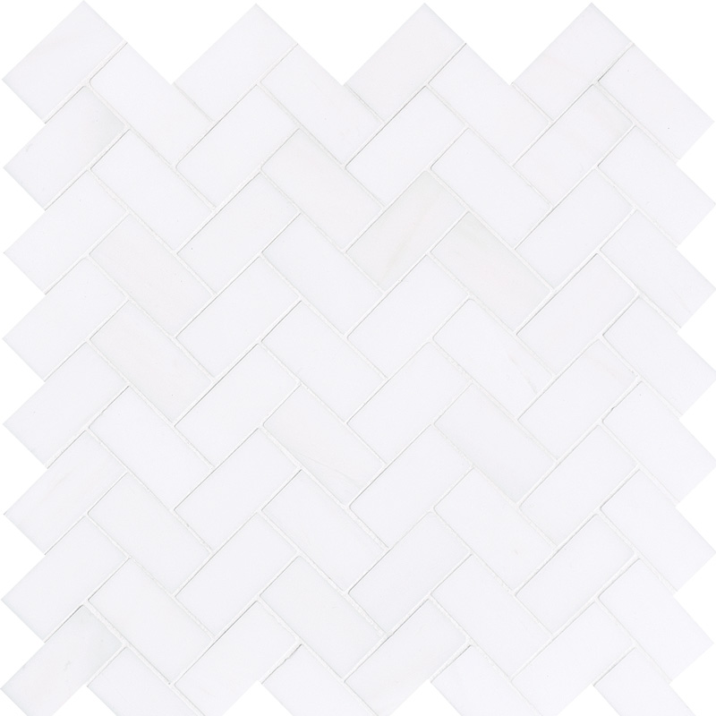 Snow White Polished 30,5x33,5 Herringbone Marble Mosaics