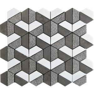 Bosphorus&show Whi Textured Hexagon Limestone Mosaics 26,5x31