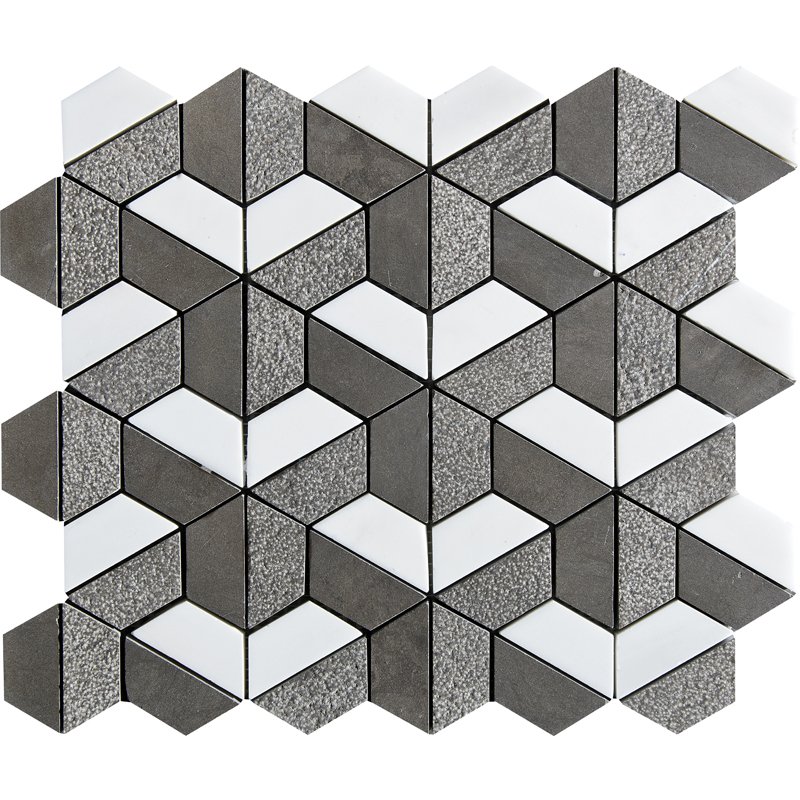 Bosphorus&show Whi Textured 30,5x30,5 Hexagon Marble Mosaics