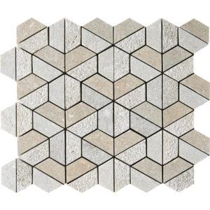 Olive Green Textured Hexagon Limestone Mosaics 26,5x31