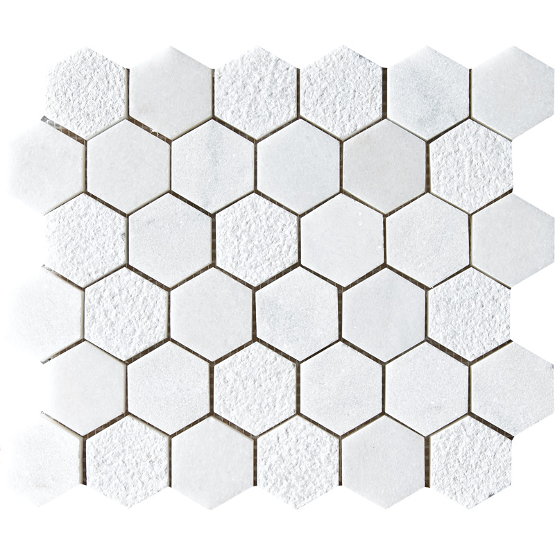 Glacier Textured 30,5x30,5 Hexagon Marble Mosaics