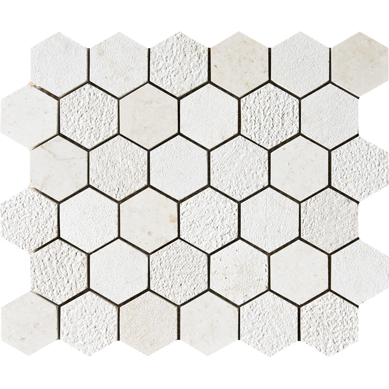 Heartsmere Textured 30,5x30,5 Hexagon Limestone Mosaics