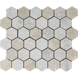 Olive Green Textured Hexagon Limestone Mosaics 26,5x31