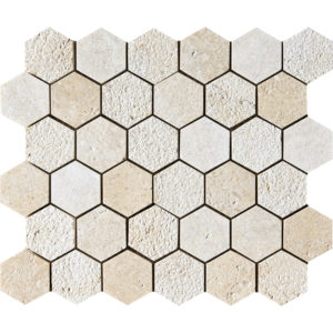 Seashell Textured Hexagon Limestone Mosaics 26,5x31