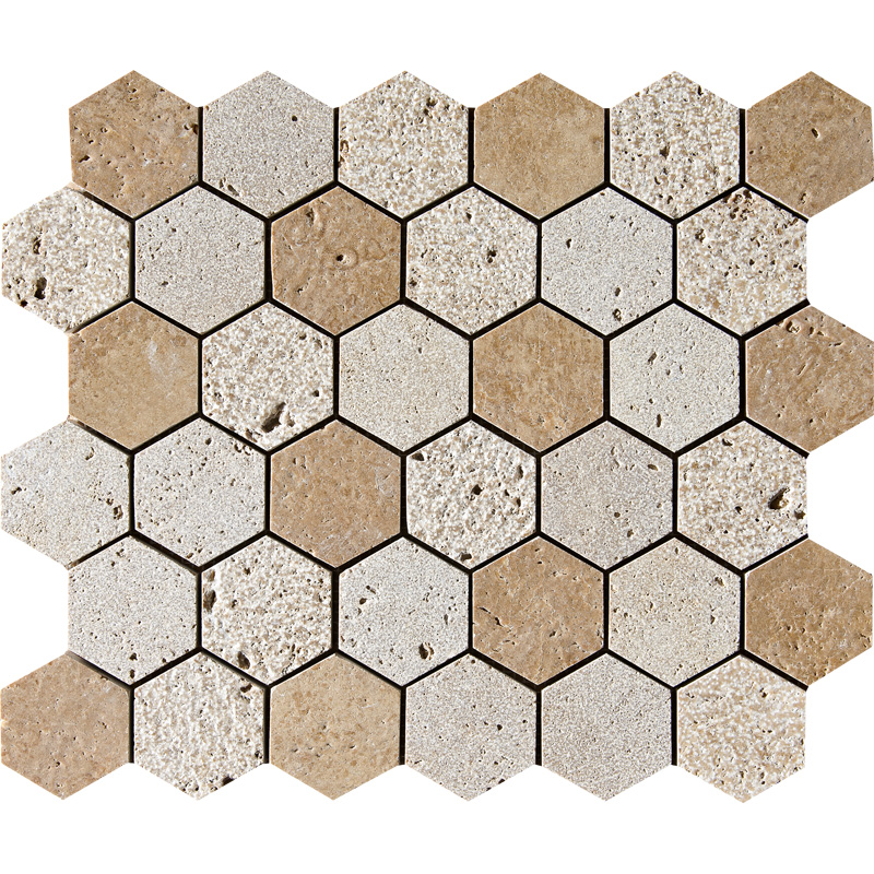 Walnut Dark Textured 26,5x31 Hexagon Travertine Mosaics