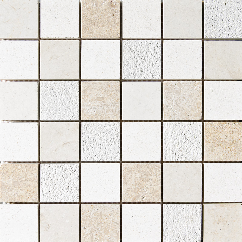 Champagne&seashell&heartsmere Textured 2×2 Limestone Mosaics 30,5×30,5
