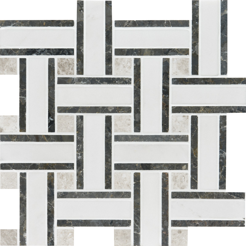 Aspen White Honed 30,5x30,5 Lattice Marble Mosaics