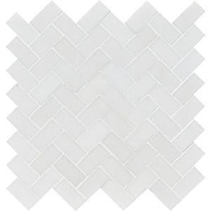 Aspen White Honed Herringbone Marble Mosaics 30,5x33,5