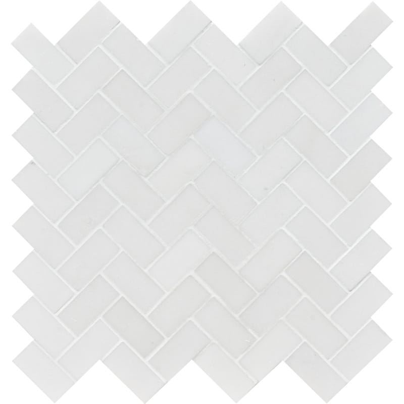 Aspen White Honed 30,5x33,5 Herringbone Marble Mosaics