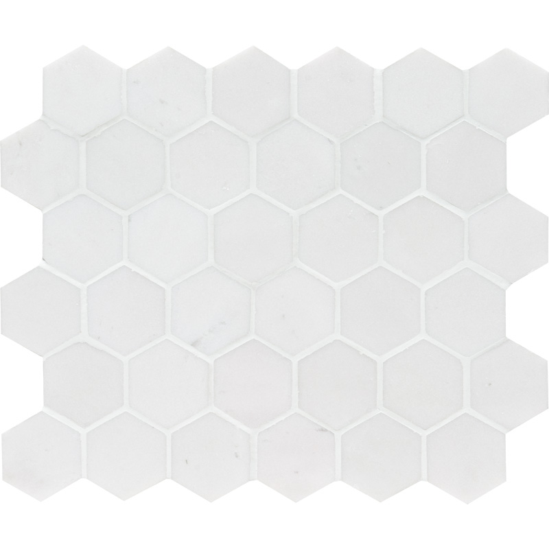 Aspen White Honed 26,5x31 Hexagon Marble Mosaics