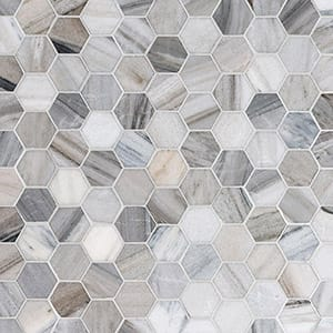 Verona Blend Polished Hexagon Marble Mosaics 26,5x31