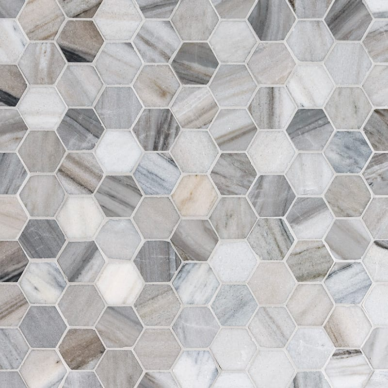 Verona Blend Polished Hexagon Marble Mosaics 26,5×31
