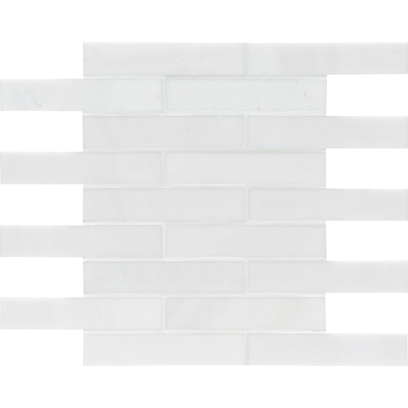 Aspen White Polished 3×15,2 Marble Mosaics 30,5×30,5