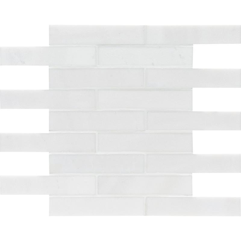 Aspen White Polished 30,5x30,5 1 1/4x6 Marble Mosaics