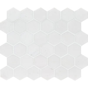 Aspen White Polished Hexagon Marble Mosaics 26,5x31