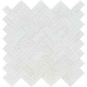Aspen White Polished Herringbone Marble Mosaics 30,5x33,5