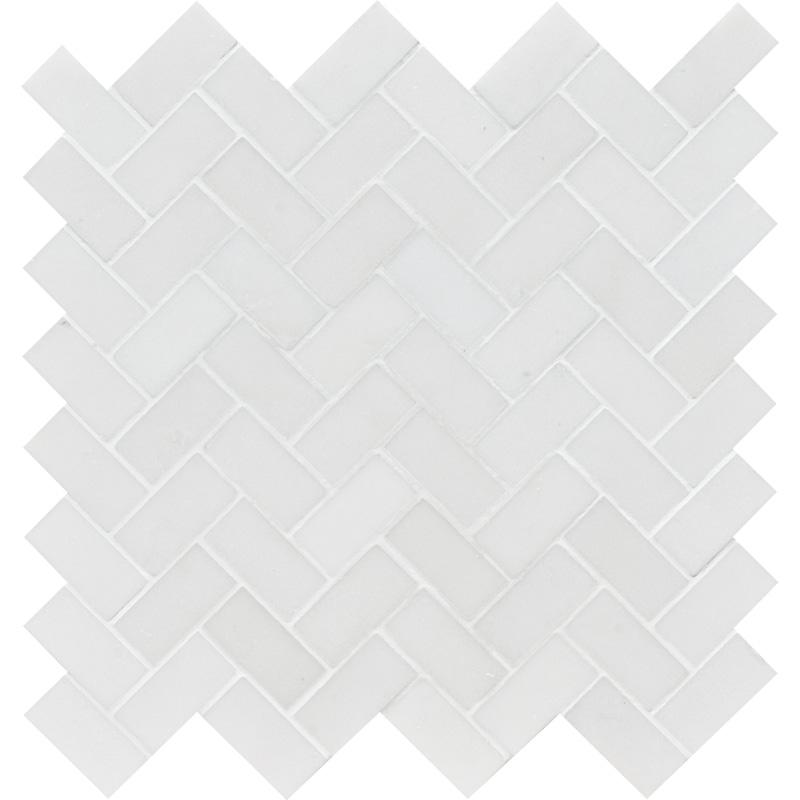 Aspen White Polished 30,5x33,5 Herringbone Marble Mosaics