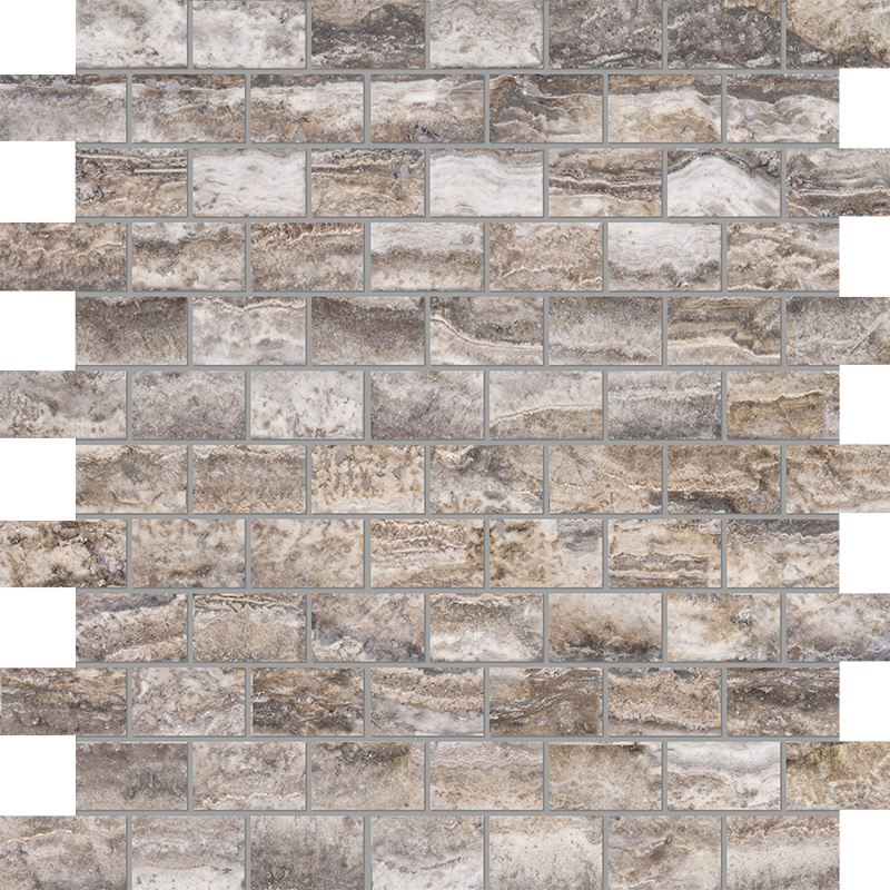 Roman Silver Vein Cut Honed&filled 30,5x30,5 1x2 Travertine Mosaics
