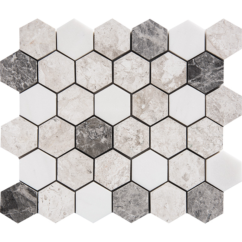 Granada Blend Polished 26,5x31 Hexagon Marble Mosaics