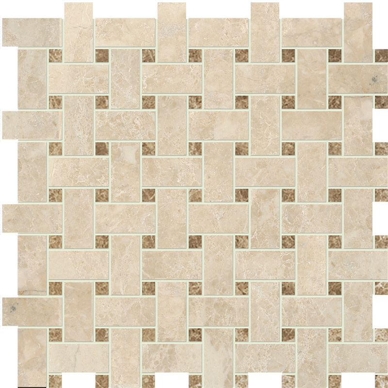 Cappuccino Polished 30,5x30,5 Basket Weave Marble Mosaics