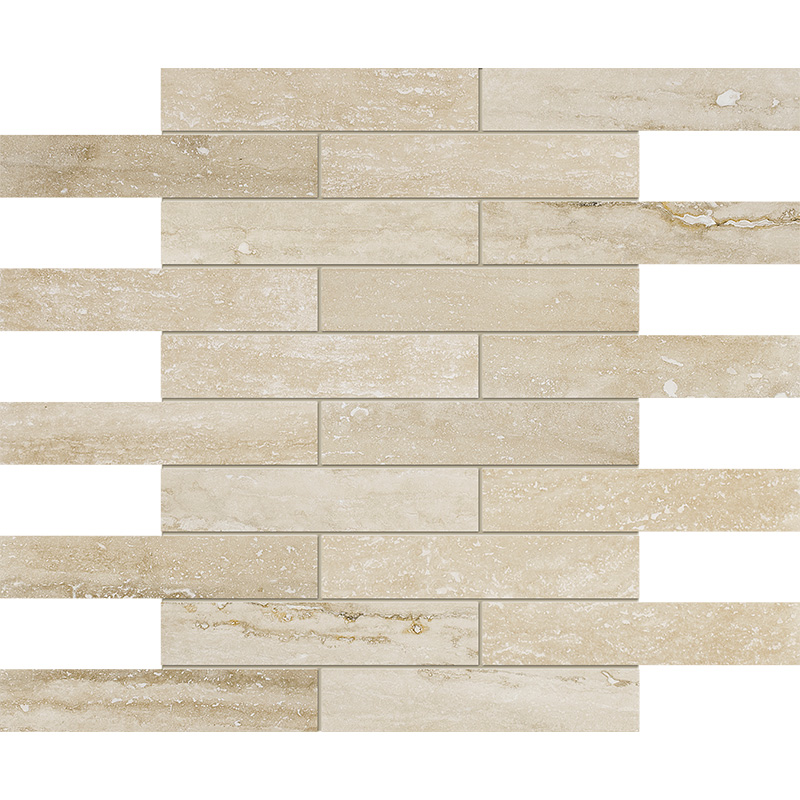Ivory Vein Cut Honed&filled 3x15,2 Travertine Mosaics 30,5x30,5