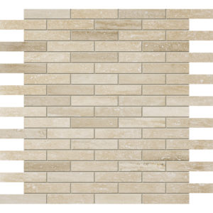 Ivory Vein Cut Honed&filled 1,5x7,6 Travertine Mosaics 30,5x30,5