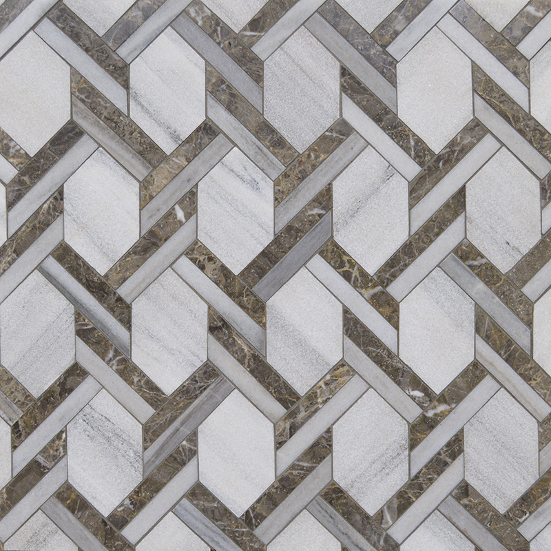 Skyline, Silver Drop Multi Finish Braided Hexagon Marble Mosaics 24,6×41,7