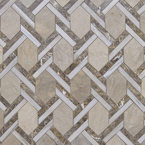 Britannia, Skyline, Silver Drop Multi Finish Braided Hexagon Marble Mosaics 24,6x41,7