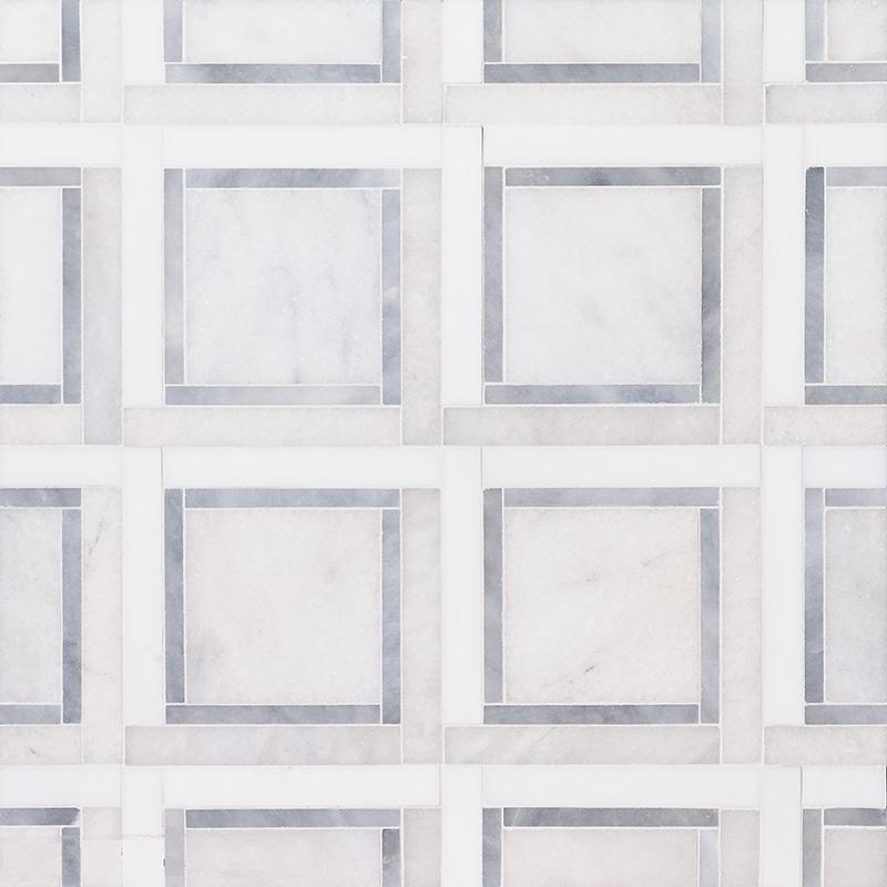 Glacier, Snow White, Allure Multi Finish Cambridge Marble Mosaics 32,7×32,7