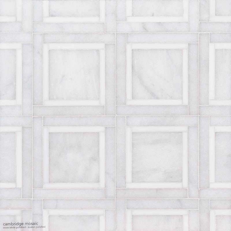 Snow White, Avalon Multi Finish Cambridge Marble Mosaics 32,7×32,7