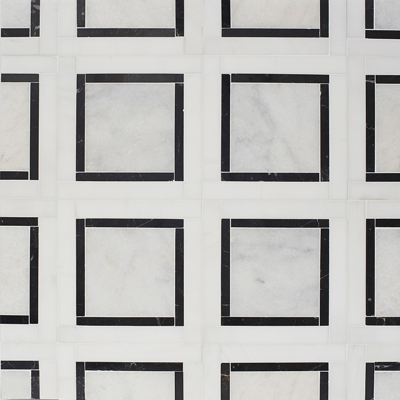 Glacier, Black, Snow White Multi Finish Cambridge Marble Mosaics 32,7×32,7
