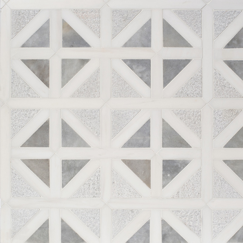 Snow White, Avenza Multi Finish Classic Lattice Marble Mosaics 37,5×37,5