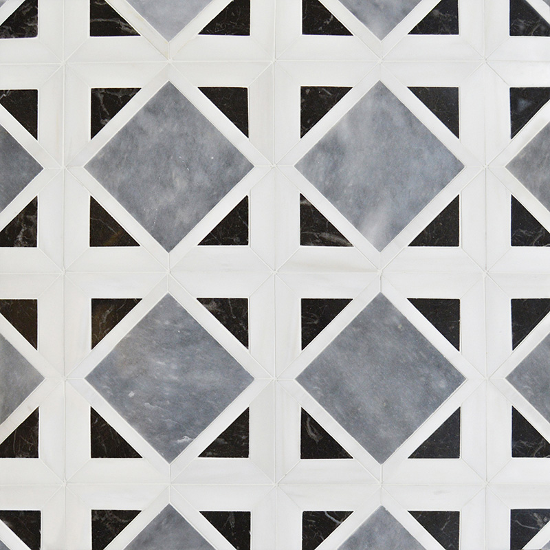 Snow White, Black, Allure Polished Kent Marble Mosaics 34,5×34,5