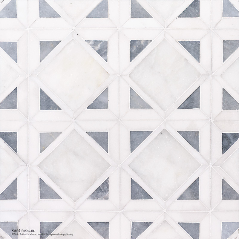 Snow White, Allure, Glacier Multi Finish Kent Marble Mosaics 34,5×34,5