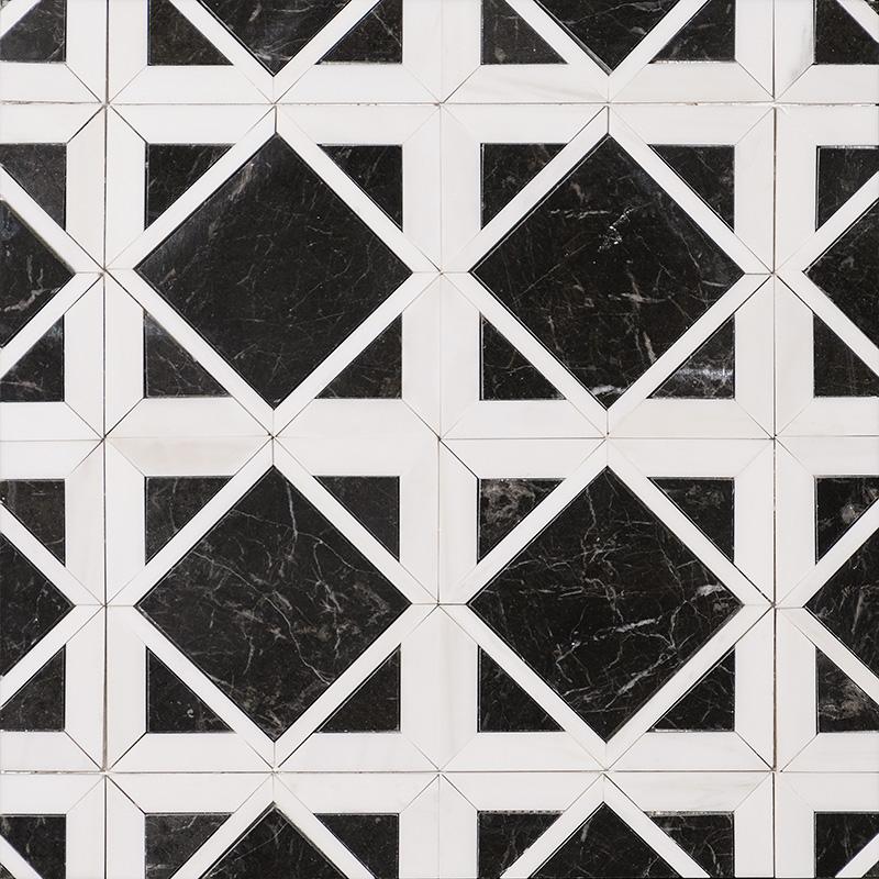 Snow White, Black Multi Finish Kent Marble Mosaics 34,5×34,5