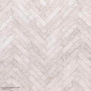 Silver Shadow Honed Large Herringbone Marble Mosaics 32,7x21,8