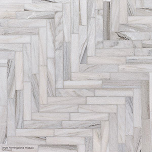 Skyline Honed Large Herringbone Marble Mosaics 32,70x21,74