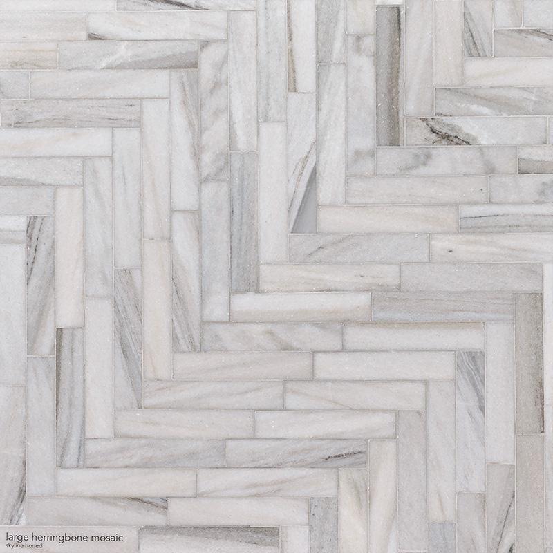 Skyline Honed Large Herringbone Marble Mosaics 32,70×21,74