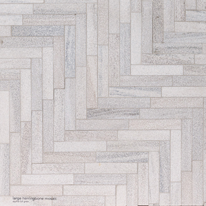 Skyline Full Grain Large Herringbone Marble Mosaics 32,70x21,74