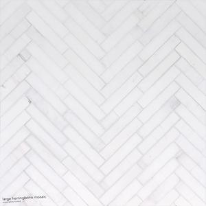 Snow White Honed Large Herringbone Marble Mosaics 32,7x21,8