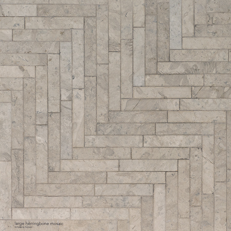 Britannia Honed Large Herringbone Limestone Mosaics 32,7×21,8