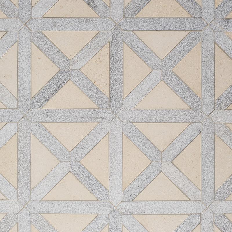 Champagne, Skyline Multi Finish Large Lattice Marble Mosaics 35,2×35,2