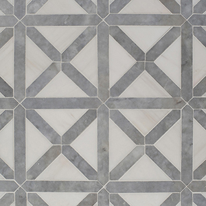 Avenza, Snow White Honed Large Lattice Marble Mosaics 35,2x35,2