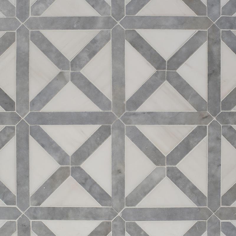 Avenza, Snow White Honed Large Lattice Marble Mosaics 35,2×35,2