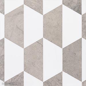 Britannia, Snow White Honed Mcm Hexagon 8 Marble Mosaics 20