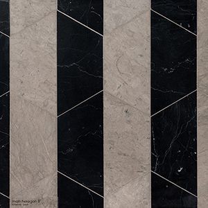 Britannia, Black Honed Mcm Hexagon 8 Marble Mosaics 20