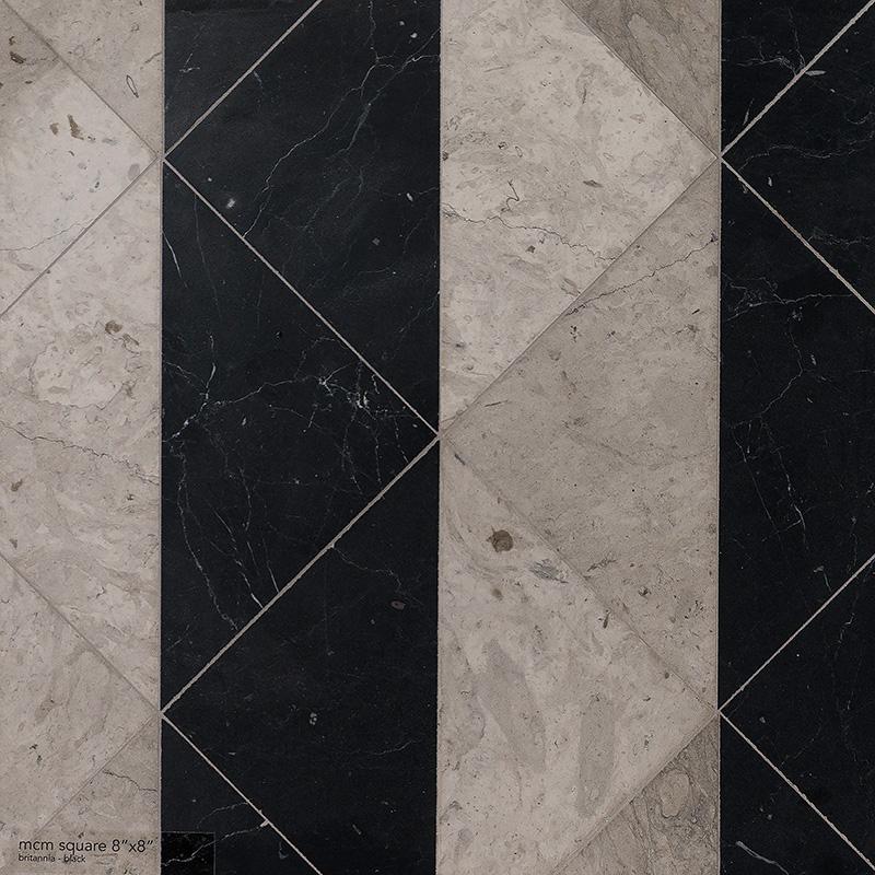 Britannia, Black Honed Mcm Square Marble Mosaics 20×20