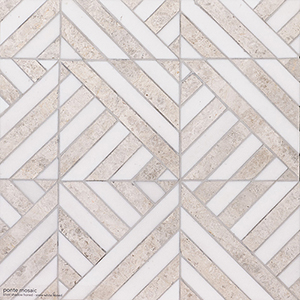 Silver Shadow, Snow White Honed Ponte Marble Mosaics 36,4x36,4