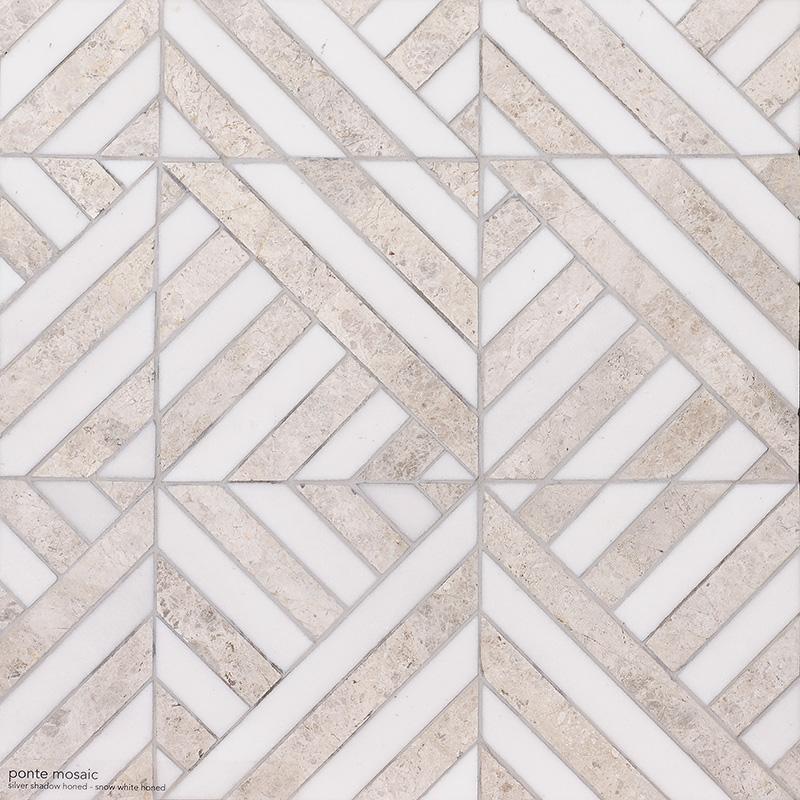 Silver Shadow, Snow White Honed Ponte Marble Mosaics 36,4×36,4