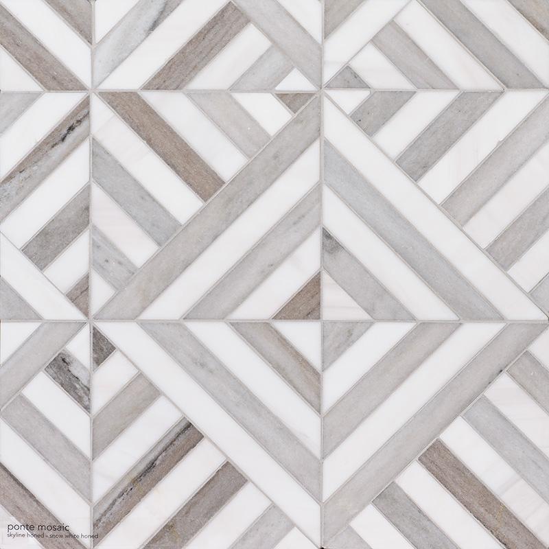 Skyline, Snow White Honed Ponte Marble Mosaics 36,4×36,4